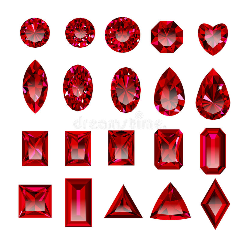 Set Of Realistic Red Rubies With Different Cuts Stock