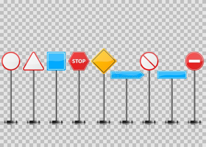 Set realistic road sign. Stop, circle, triangle. stock illustration