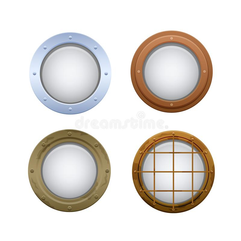 Set of round oval windows, portholes. Illuminators on submarine, ship. royalty free illustration