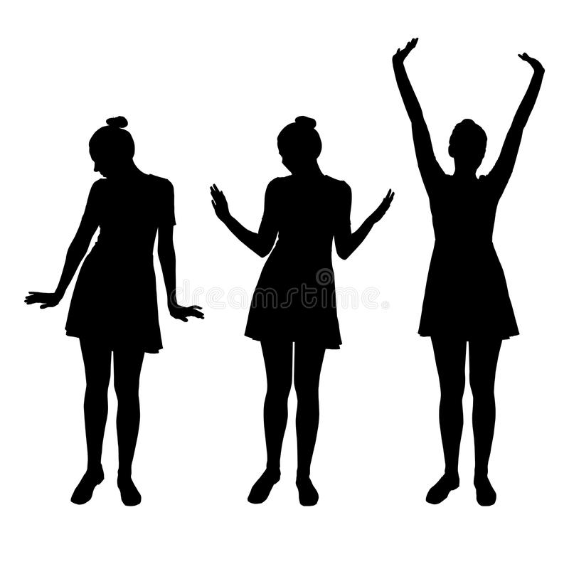 Set of realistic silhouettes posing young women in dress vector illustration