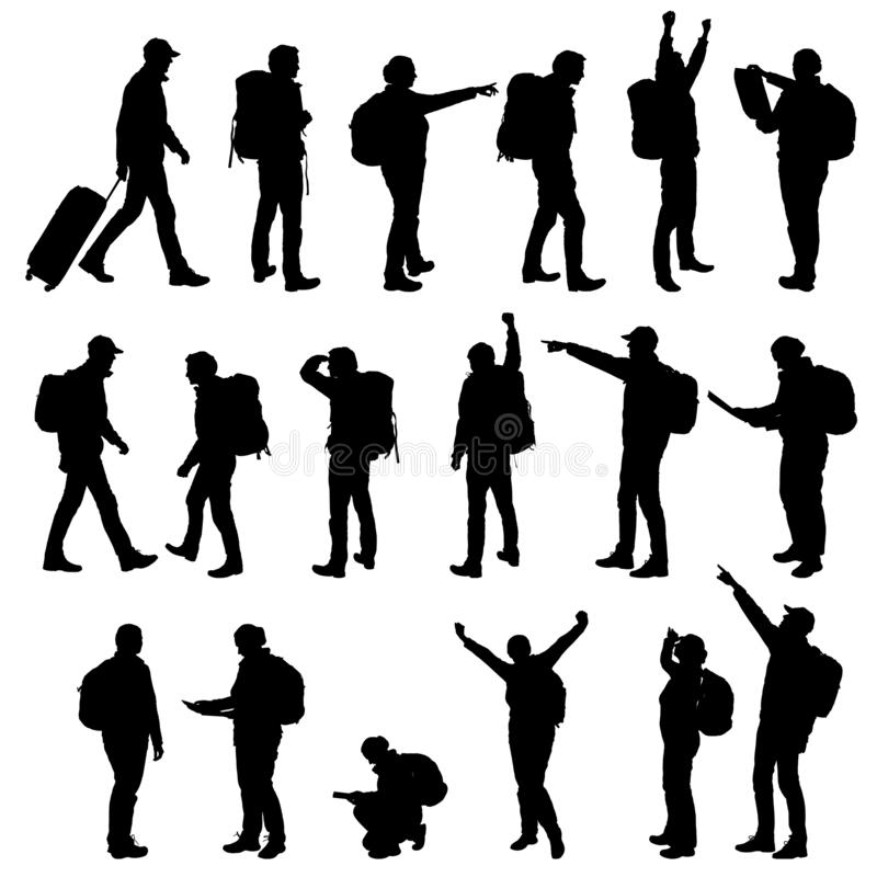 Set realistic silhouettes of tourists, men and women. Backpack on back, showing hands and rejoicing in success. Vector. Set realistic silhouettes of tourists royalty free illustration