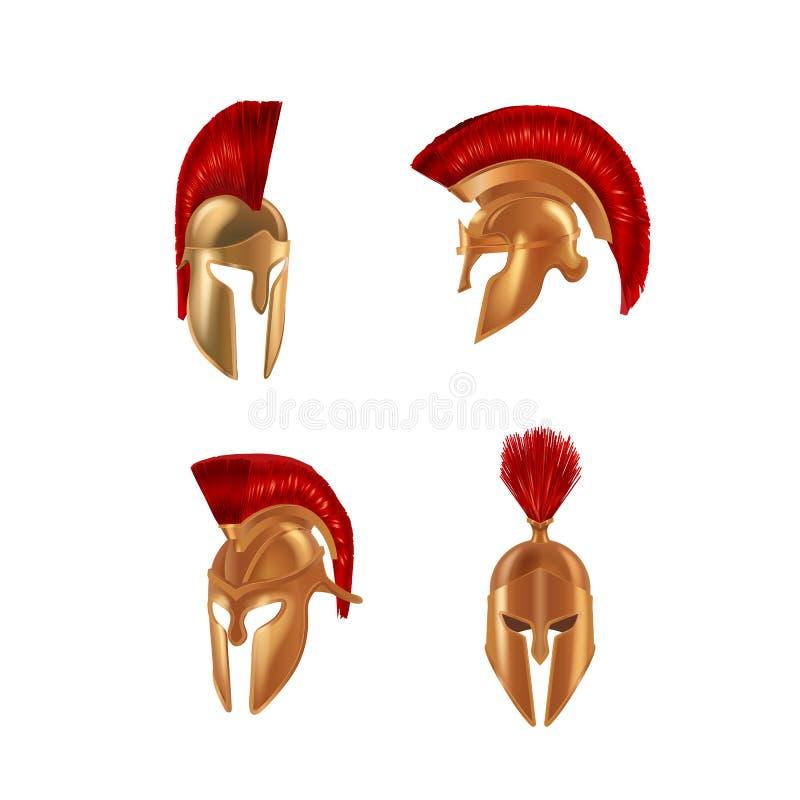Set realistic Spartan Ancient Greek, Roman helmet. Bronze protective headgear. vector illustration