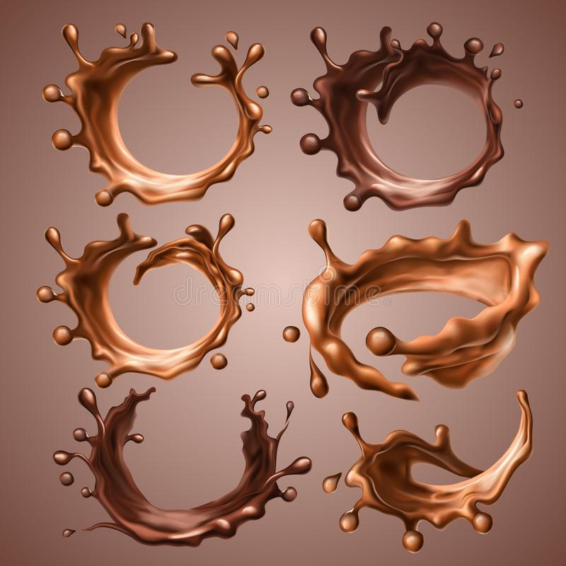 Set of realistic splashes and drops of melted milk and dark chocolate. Dynamic circle splashes of whirl liquid chocolate vector illustration
