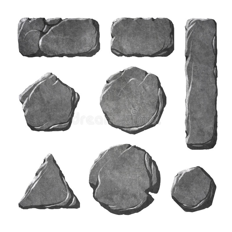 Set of realistic stone buttons and elements stock illustration