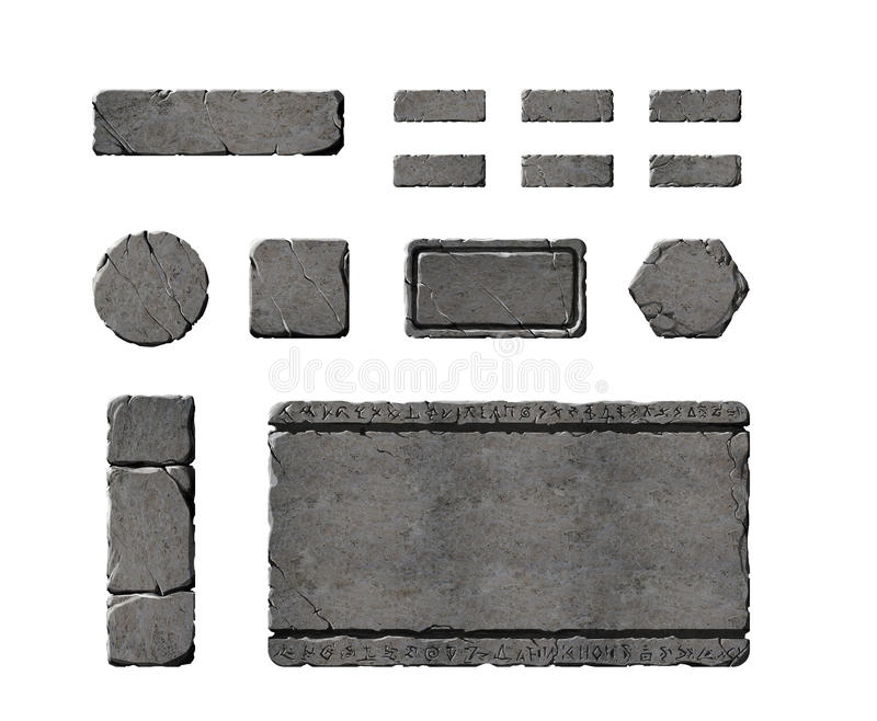 Set of realistic stone interface buttons. vector illustration