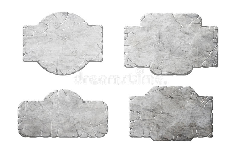 Set of realistic stone interface buttons and elements. Set of realistic bitmap / raster stone or rock textured interface buttons and elements stock illustration