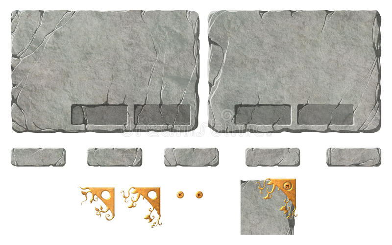 Set of realistic stone interface buttons and elements. Set of realistic bitmap / raster stone or rock textured interface buttons and elements and popup windows royalty free illustration