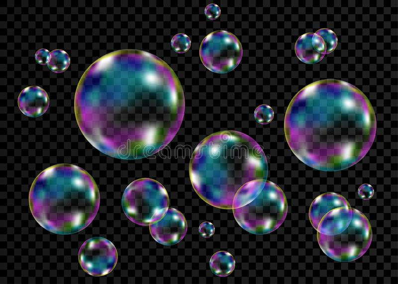 Colorful soap  bubbles with rainbow reflection. Set of realistic transparent colorful soap  bubbles with rainbow reflection isolated on checkered background royalty free illustration