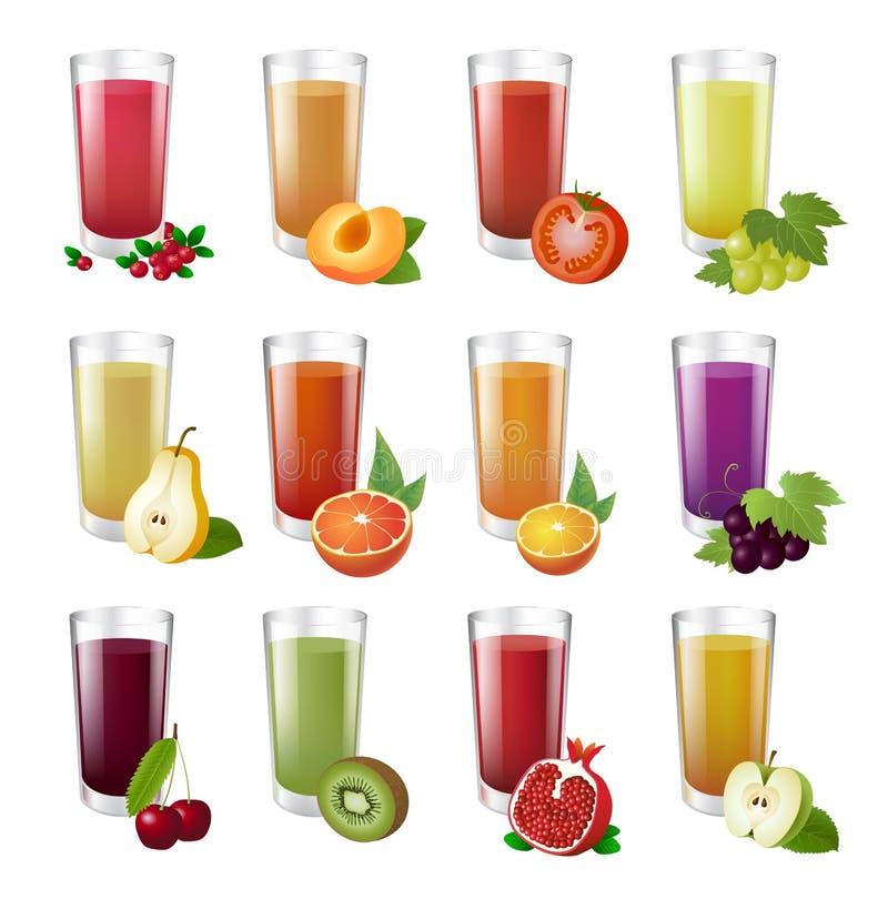 Set realistic transparent glasses of juice. stock illustration