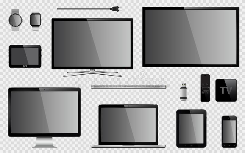 Set of realistic TV, computer monitor, laptop, tablet, mobile phone, smart watch, usb flash drive, GPS navigation system device, T. Set of realistic TV, computer stock illustration