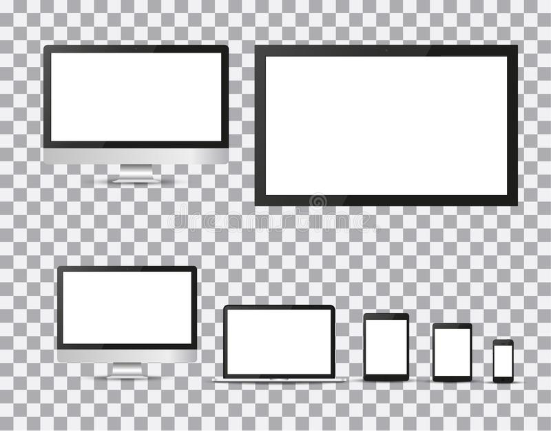 Set of realistic TV, lcd, led, computer monitor, laptop, tablet and mobile phone with empty white screen. Various modern electroni vector illustration