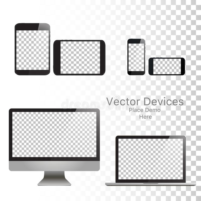 Set realistic vector devices on a isolated white background. Vector mockup. Blank Device template. Vector illustration stock illustration