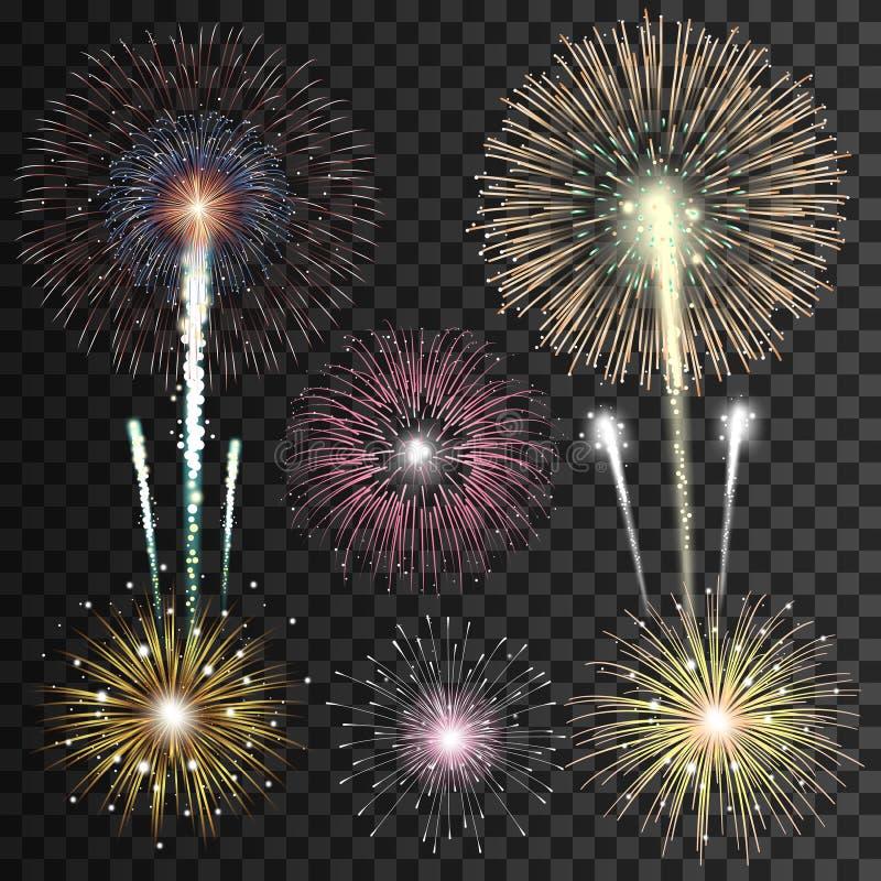 Set of realistic vector fireworks. On transparent background royalty free illustration