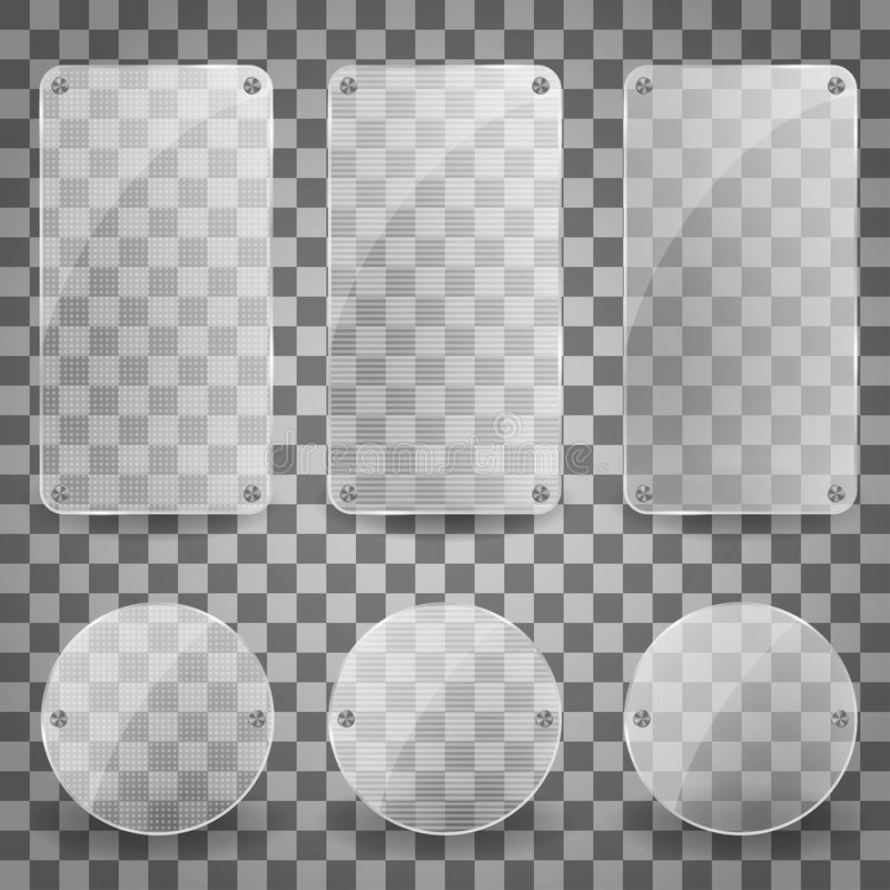 Set of Realistic Vector Glass Plate. shiny reflecting square banner icon. Vector glare banners Illustration with. Reflection effect. EPS 10 royalty free illustration