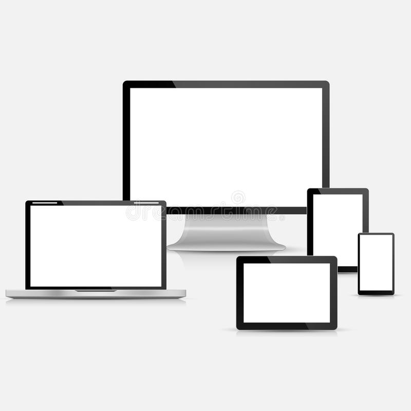 Set of realistic vector laptop tablet computer monitor and download set of realistic vector laptop tablet computer monitor and mobile phone template stock pronofoot35fo Gallery