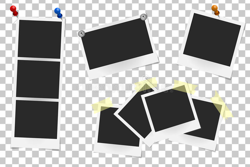 Set of realistic vector photo frames on sticky tape, pins and rivets. Template photo design, Vector illustration vector illustration