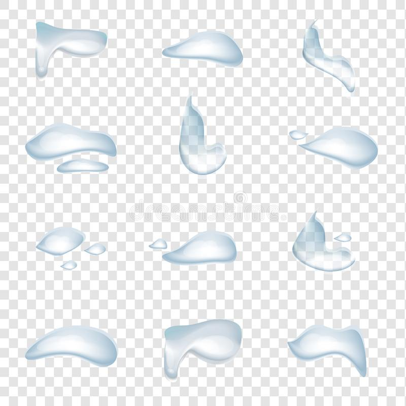 A set of realistic water drops vector isolated on transparency background, Glass bubble, natural clear crystal splash royalty free illustration