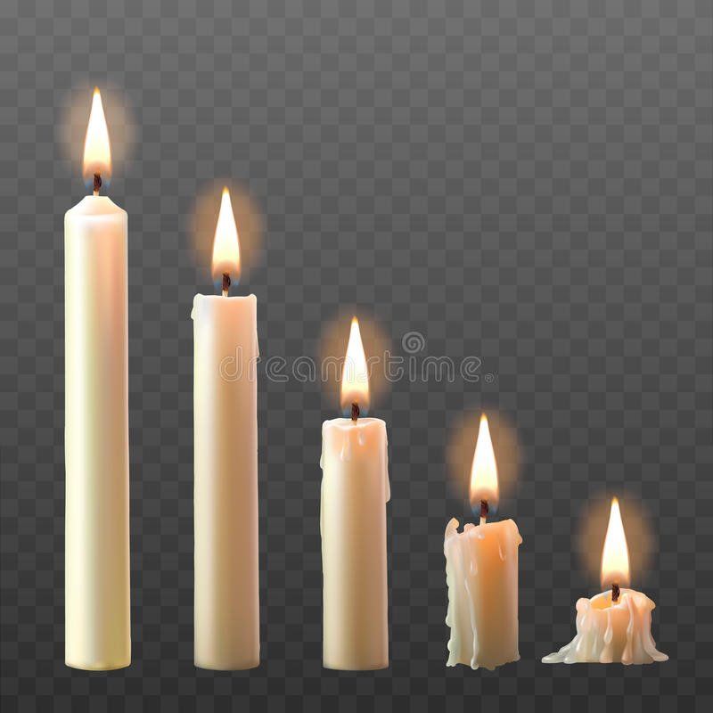 Set of realistic white burning candles isolated on a transparent background. Candles with melted wax on different combustion stage royalty free stock images