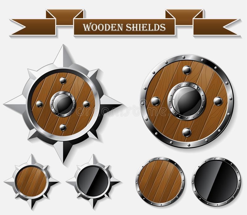 Set of realistic wooden shields on grey vector illustration