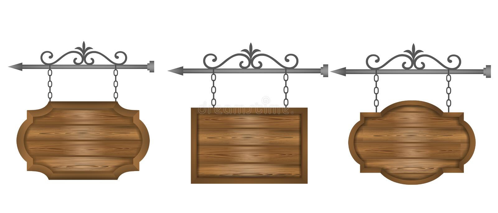 Set wooden sign boards on chain banners vector stock illustration