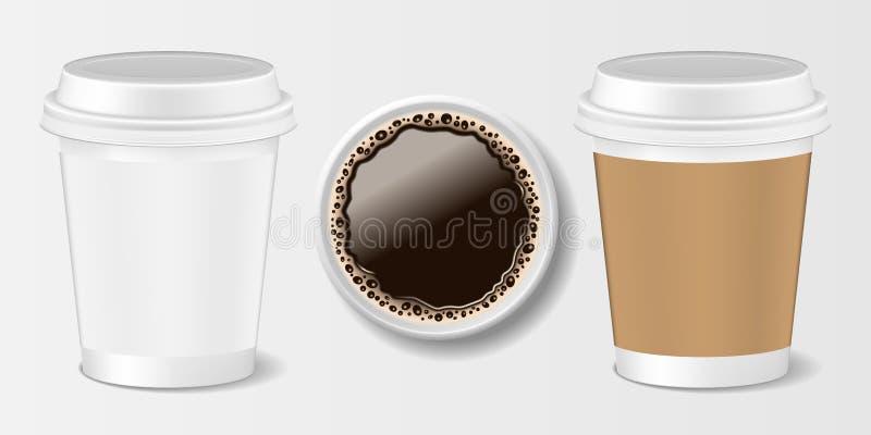 Set Realistyczna papierowa wp8lywy filiżanka 3d papieru kubek dla kawy, frontowego i odgórnego widoku, również zwrócić corel ilus ilustracji