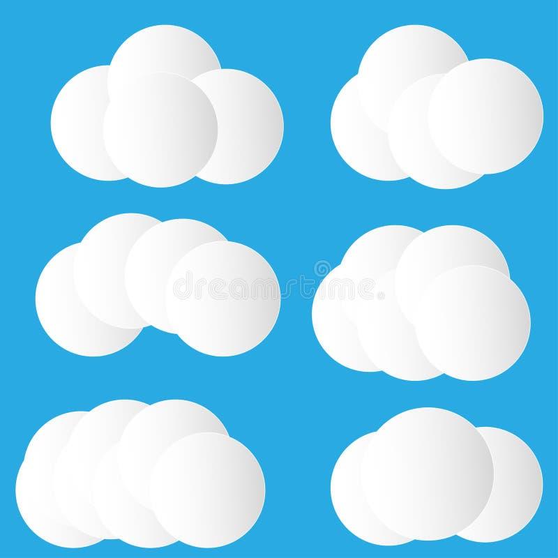 Set realistyczne chmury robić z okręgami royalty ilustracja