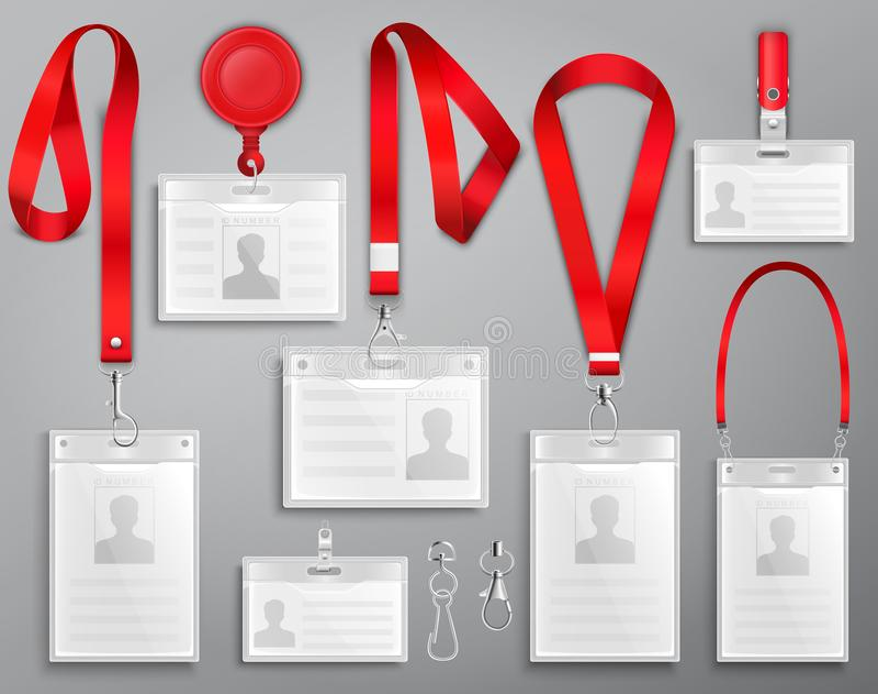 Set realistyczne odznaki id karty na czerwonych falrepach z patek klamerkami, sznurem i przepięciami wektorowymi, ilustracji
