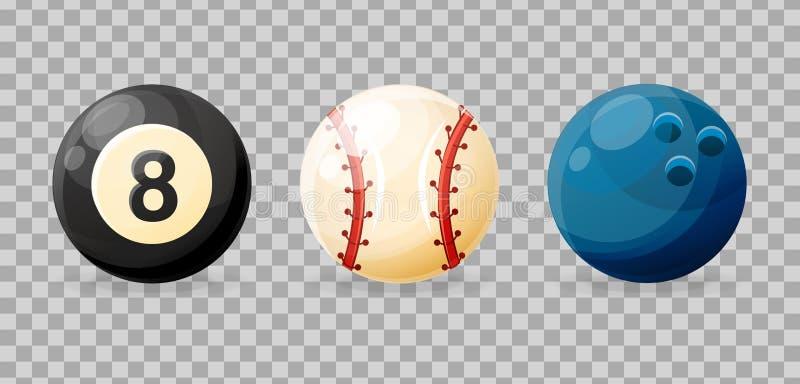 Set realistyczne sporta wyposażenia piłki dla billiards, kręgle, baseball royalty ilustracja