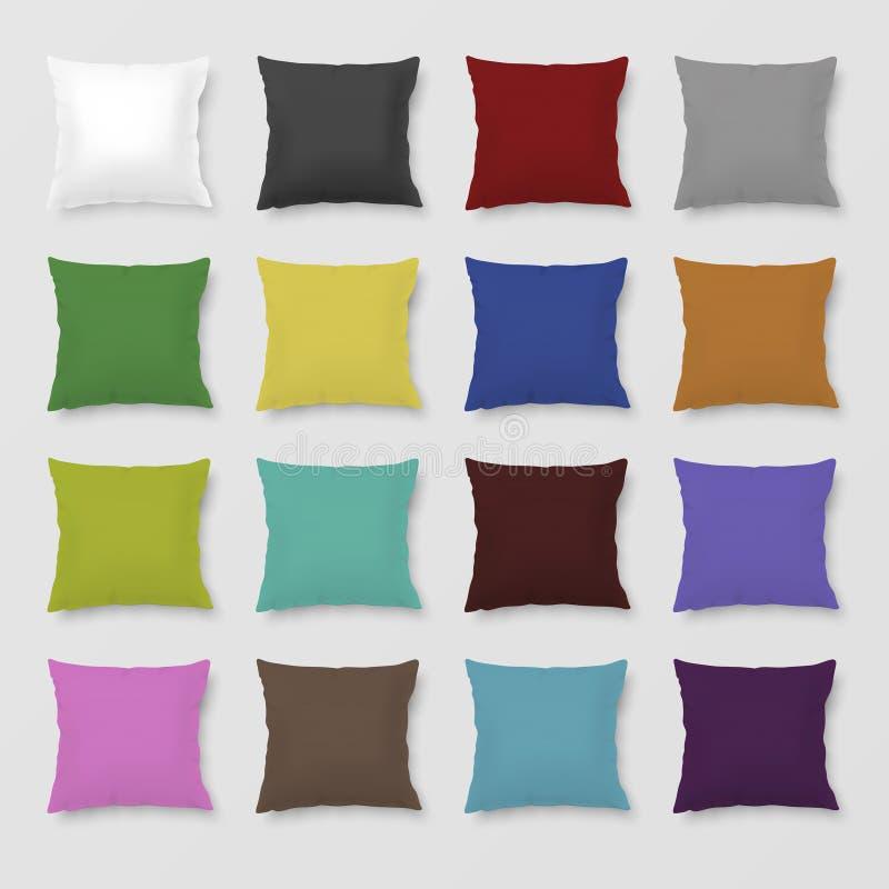 Set realistycznego wektoru barwione poduszki ilustracji