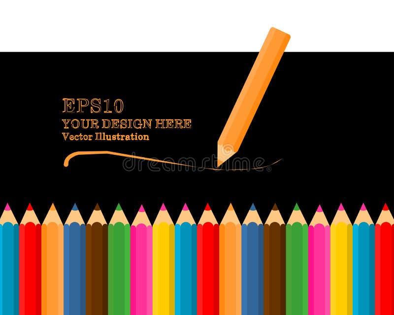 Set Realistyczni 3D Kolorowi Barwioni ołówki lub kredki royalty ilustracja