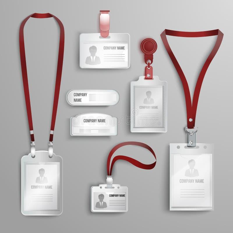 Set realistyczni jaśni plastikowi odznaki id kart właściciele ilustracja wektor