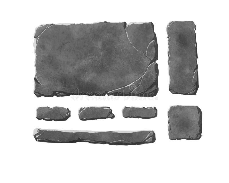 Set realistyczni kamienni interfejsów guziki, elementy i ilustracja wektor