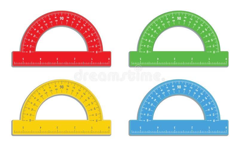 Set realistyczni kolorowi kątomierze z 6 władcy calową ikoną Matematyki narzędzia miara Instrument dla mierzy? k?ty k?tomierz zam royalty ilustracja