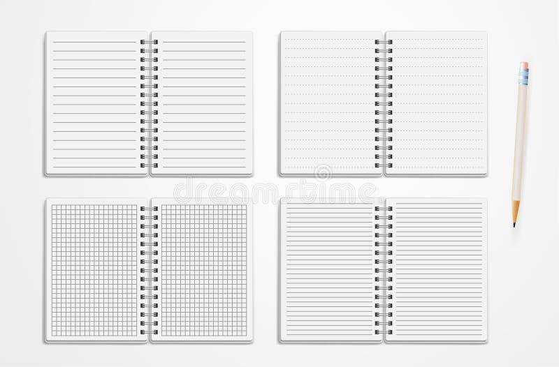 Set Realistyczni Kreskowi notatniki Puste miejsce Moścący dzienniczka Sketchbook Z kropkami I liniami Dla Pisać Pustych szablonac royalty ilustracja