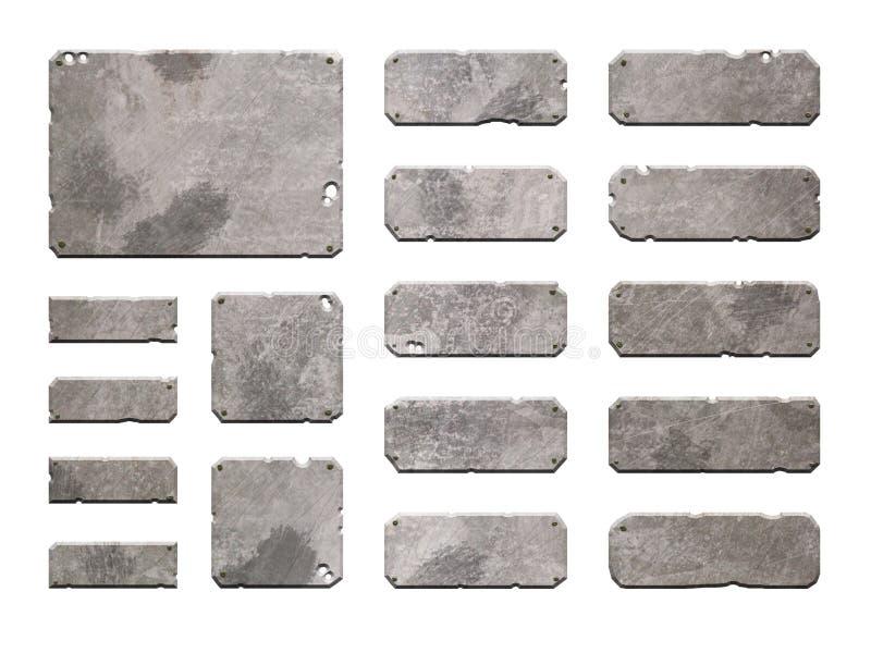 Set realistyczni metalu interfejsu guziki ilustracja wektor