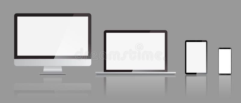 Set realistyczni monitoru laptopu smartphone i pastylki pokazu mockups z frontowym widokiem również zwrócić corel ilustracji wekt ilustracji