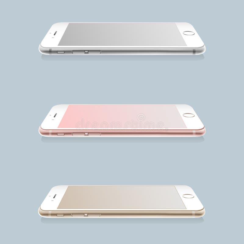 Set realistyczni smartphones układy royalty ilustracja