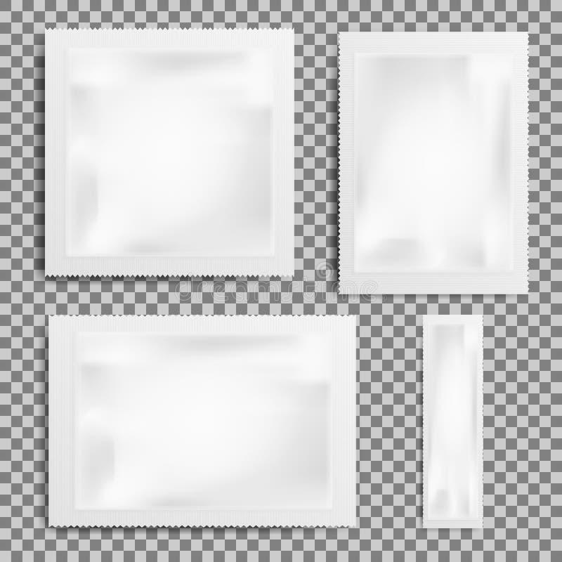 Set Realistyczny Biały Pusty szablon Pakuje folii mokrych wytarcia Inkasowa Karmowego kocowania kawa, sól, cukier, pieprz, pikant ilustracja wektor