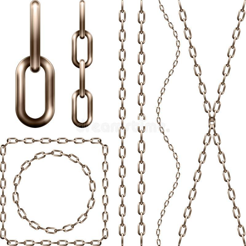 Set realistyczny brown metalu łańcuch, odosobniony na bielu ilustracja wektor