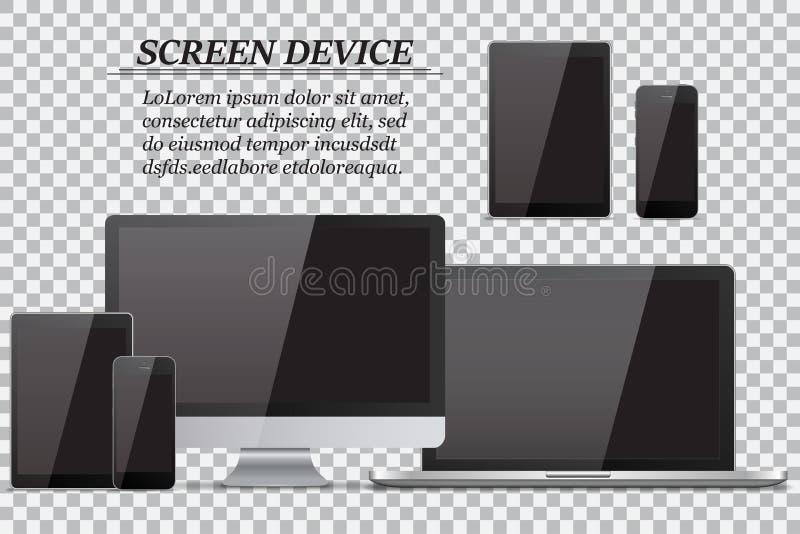 Set realistyczny komputerowy monitor, laptop, pastylka i telefon komórkowy z pustym czerń ekranem na przejrzystym tle, royalty ilustracja