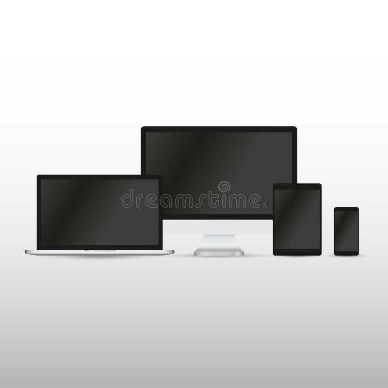Set realistyczny komputerowy monitor, laptop, pastylka i telefon kom?rkowy z pustym bielu ekranem, R??norodny nowo?ytny elektroni royalty ilustracja