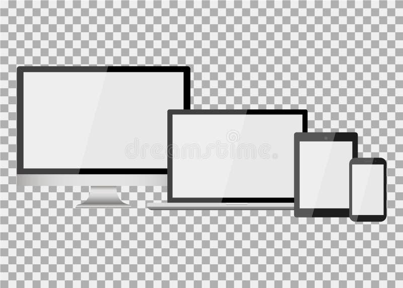 Set realistyczny nowożytny pusty ekran lcd, prowadzący, TV, monitor, laptop, notatnik, ochraniacz, telefon dalej odizolowywa tło ilustracja wektor