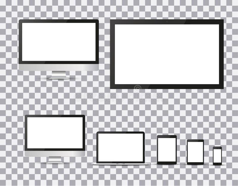Set realistyczny TV, lcd, monitor, laptop, pastylka i telefon komórkowy z pustym bielu ekranem, prowadzący, komputerowy, Różnorod ilustracja wektor
