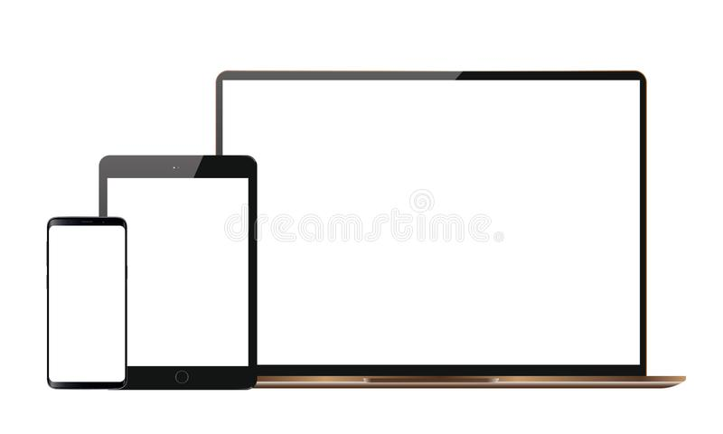 Set Realistyczny Wektorowy androidu telefonu komórkowego Ipad pastylki androidu Lcd Tv monitoru pokaz ilustracja wektor