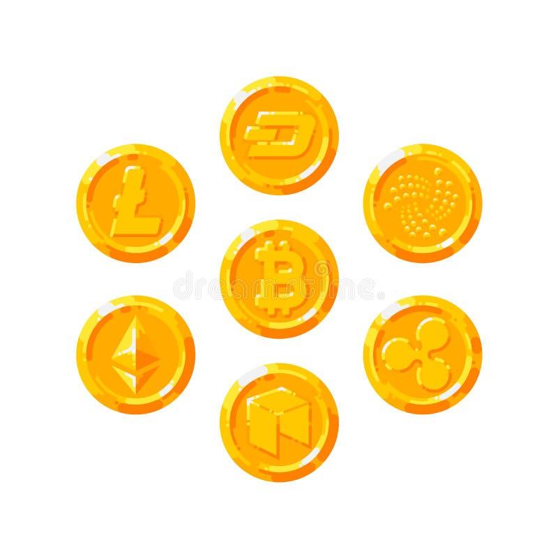 Set Realistyczny złoty monety mieszkania styl odizolowywający na białym tle ilustracji