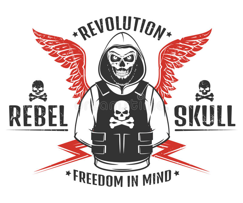 Set of rebel skull and revolution skeleton black and white print for t shirt vector illustration