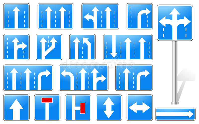 Download Set Of Rectangle Blue Road Signs Stock Vector - Image: 26157665