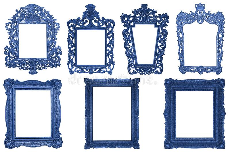Set of rectangle Decorative vintage blue wooden frames isolated on white stock photo