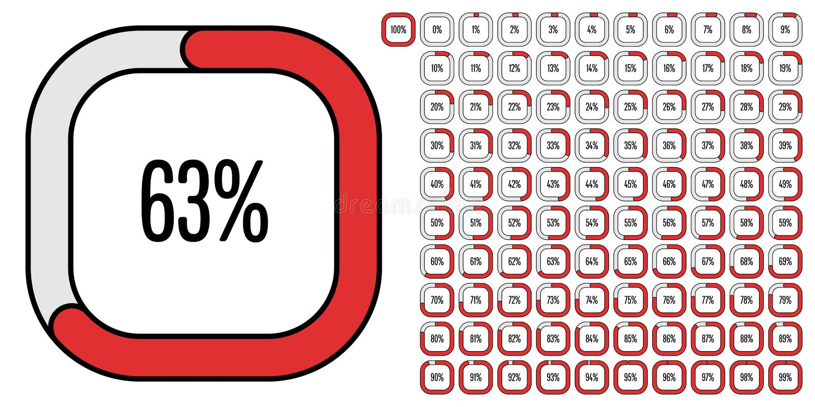 Set of rectangle percentage diagrams from 0 to 100. Set of rectangle percentage diagrams meters from 0 to 100 ready-to-use for web design, user interface UI or stock illustration
