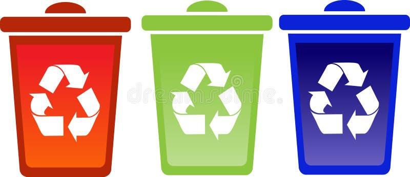 Set of recycle bins stock illustration